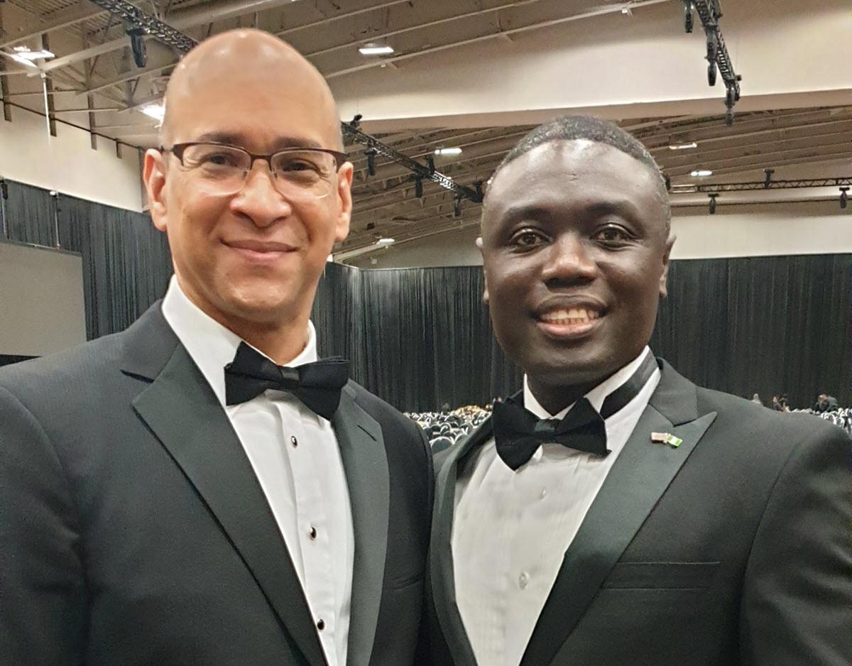 Dr. David Hinson, CBCF President, with Shola Salako